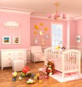 Barnsäng i rosa barnrum